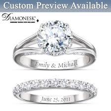 custom weddings rings images Diamonesk personalized engagement ring and wedding band set