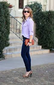 lilac blouse lilac silk blouse denim leopard print pumps things i