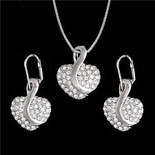 silver pendant necklace set images Minhin pretty heart design pendant silver jewelry set delicate jpg