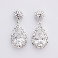 tear drop earrings bridal earrings wedding jewelry posts large cubic zirconia