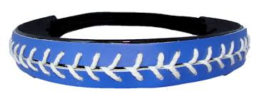 softball headbands leather softball seam stitch headband blue white