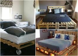 chambre palette diy bricolage meuble palette bois chambre adulte lit roulettes