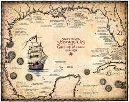 map of the gulf of mexico shipwreck map of the gulf of mexico artwork 15 x 19