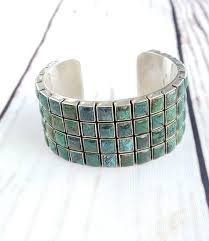 cuff bracelet with stones images 1960 39 s cuff bracelet handcrafted with 80 turquoise stones edgy jpg