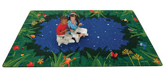 Tropical Area Rugs Carpets For Kids Printed Peaceful Tropical Night Blue Area Rug