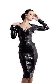 maggie latex secretary dress gaping neckline wide by houseofharlot