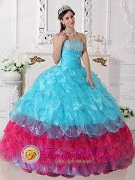 aqua quince dresses appliques layers ruffled aqua blue and hot pink quinceanera