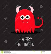 halloween clipart black background cute red evil monster with horns and fangs happy halloween card