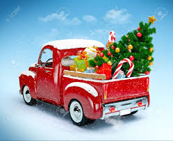 Vintage Ford Truck Gifts - christmas background pickup with christmas tree and gifts merry