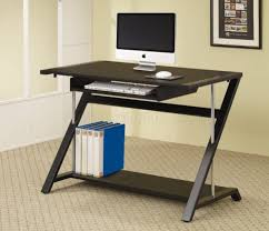 furniture black finish modern home office desk wchrome tube