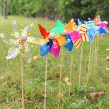 9 x decorative garden windmills flower bed plant pot ornament