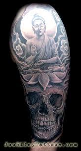 buddha lotus and skull by joe tattoonow