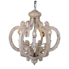 Wood Chandelier Distressed Antique White 6 Light Wood Chandelier Free Shipping