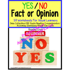 yes no fact or opinion worksheet set with data