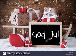 sleigh with gifts snow snowflakes god jul means merry