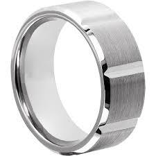 Wedding Ring For Men by Tungsten Wedding Bands For Men Beveled Brushed Rings In 9mm Fm