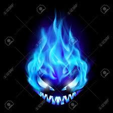 black and purple halloween background blue evil burning halloween symbol illustration on black
