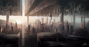 wallpaper matte painting art city urban futuristic sci fi