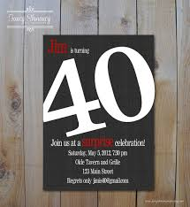 s 40th birthday invitation bold number black and