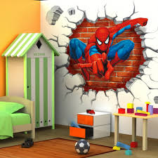 3d cartoon poqiang superman spiderman wall stickers adhesive for