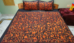 black orange bedding embroidered bedspread bed cover floral