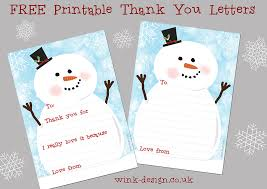 free printable snowman christmas thank you letters wink design