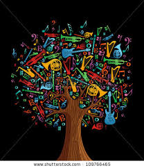 abstract musical tree made instruments shapes stock vector