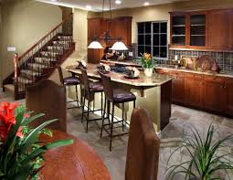 marvelous open modern spanish style kitchen with oak cabinetry