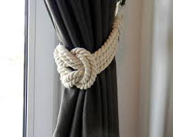 Shabby Chic Tie Backs by Cotton Monkey Fist Knot Tie Backs Nautical Curtain