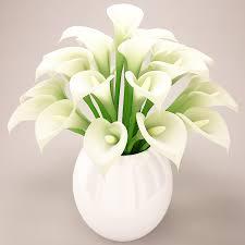 3d Flower Vase Calla Round White Whitegekko
