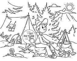 summer camp coloring page for kids seasons coloring pages