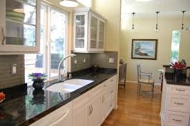 kitchen galley kitchen ideas with large glass windows also