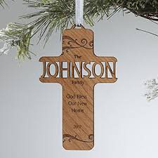 personalized cross ornaments bless our family