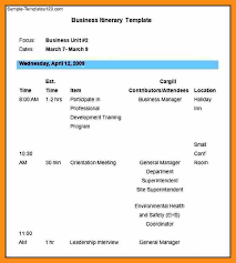 14 business itinerary template abstract sample
