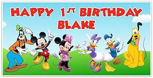 mickey mouse clubhouse birthday banner personalized