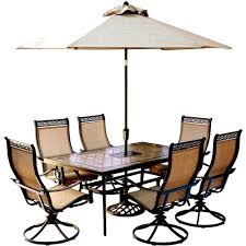 hanover monaco 7 piece outdoor dining set with rectangular tile