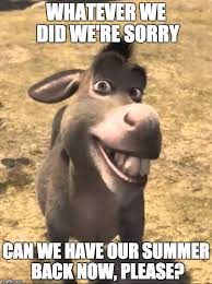 We Re Sorry Meme - image tagged in shrek donkey please boss imgflip