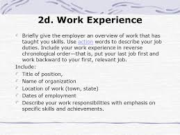 Resume Order Of Work Experience A Guide To Resume Writing Ppt Download