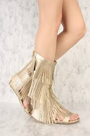 gold fringe strappy gladiator sandals faux leather