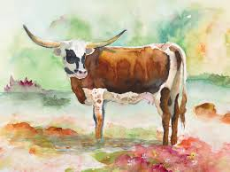 Decorative Longhorns Texas Longhorn Red And White Original Watercolor Painting By