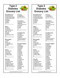 menu for diabetic printable type 2 diabetes grocery list