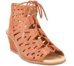 earth nubuck leather lace up wedge sandals daylily page 1