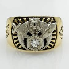 10k two tone gold diamond accented masonic shriner ring size 11 25