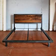 Platform Bed Frame With Headboard Kraftig Platform Bed With Rough Walnut Headboard U2013 Delia Furniture