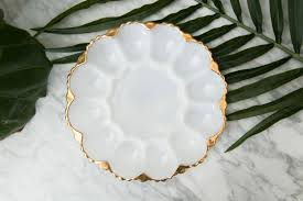 antique deviled egg plate vintage deviled egg plate milk glass anchor hocking serving