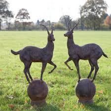 pair of deer on garden ornaments allissias attic