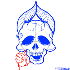 how to draw skulls and roses skulls and roses by