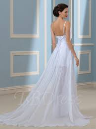 wedding dresses without straps backless split front lace chiffon spaghetti straps wedding