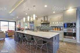 modern kitchen design pictures sleek modern kitchen design with an island stock photo image now