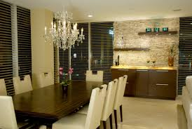 interior design beautiful dining room with wood table and leather